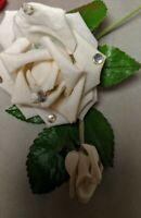 Vintage MILLINERY Flower White ROSE w/Bud &Leaves Corsage Red Velvet Ribbon