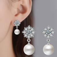 925 Sterling Silver Natural Zircon Cluster Snowflake Ear Stud Drop Earrings