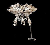 19th century Czech Victorian Silver filigree dangle Brooch. B30.