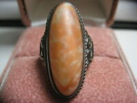 Georgian  Sterling Silver Genuine large rare color Coral ring