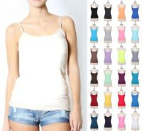 Seamless Spaghetti Strap Solid Tank Top Layering Cami Camisole Spandex Basic Tee