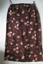 Laura Ashley Vintage skirt Brown with pansies  Size 18  lined BNWT   100% silk