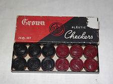 VINTAGE TOY GAME CHESS CROWN PLASTIC CHECKERS IN BOX