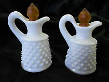 Set of 2 Milk Glass Cruets. Original Wooden Stoppers. Hobnail. No Chips/Cracks.