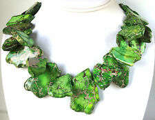 CHUNKY JASPER NECKLACE Gold Vein TURQUOISE Green Slab Chunky Necklace