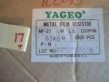 YAGEO METAL FILM RESISTORS MF-25 1/4W 1% 100PPM 53K 6 LOT OF 5000 +/- (315)