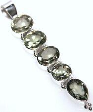 925 Sterling SILVER Green AMETHYST Pendant, 5 PRAISOLITE Gemstone LONG Pendants
