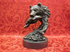 Art Deco Bronze Marble Sculpture Statue Bear Bust with Fish Salmon