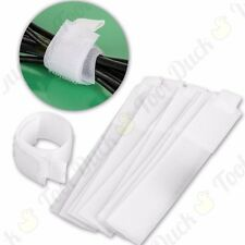 50x SMALL SILVERLINE 150mm WHITE NYLON HOOK & LOOPS CABLE TIES Straps Reusable