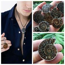 Hot Madagascar Sea Natural Druzy Ammonite Slice Shell Gemstone Pendant
