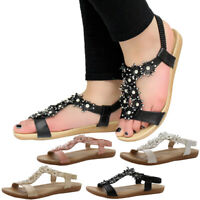 Womens Flower Diamante Wedge Ladies Summer Sandals Slingback Strap Beach Shoes