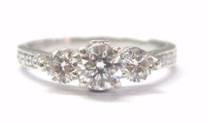 Platinum 3-Stone Round Cut Diamond Engagement Ring .98CT
