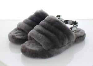 H34 $110 Women's Sz 6 M Ugg Fluff Yeah Genuine Shearling Slide Sandal