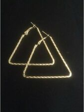 *Vintage Style Gold Triangle Shaped Hoop Earrings*