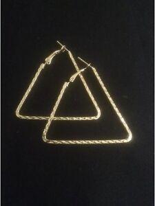 Vintage Style Gold Triangle Shaped Hoop Earrings. Dangly Triangle Earrings