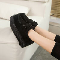 Womens Fashion Black/Red Platform Lace Up Ladies Flats Creepers Punk Goth Shoes