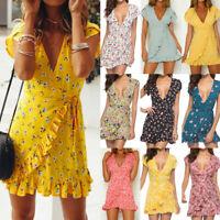 Womens Boho Short Sleeve Holiday Wrap Floral Mini Dress Ladies Summer Sundress