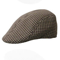 Adults Mens Beret Houndstooth Baseball Cap Peaked Casquette Pageboy Hat Coffee