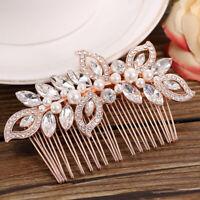 EE_ Lady Rhinestone Faux Pearl Hair Pin Comb Clip Wedding Bridal Headwear Eyeful