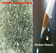 FREE PICKER PENCIL UK! 1100 CRYSTAL FLAT BACK ACRYLIC RHINESTONES GEMS 3mm