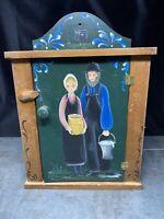 Vintage 1989 Kathy Whitmire Folk Art Handpainted Amish Medicine Curio Cabinet