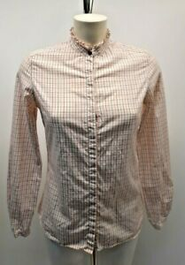 Ladies Barbour Shirt/Blouse Size 8 - Checked Hedley Barbour Ruffled Collar Shirt