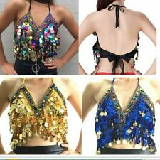 New Belly Dance Costume Top Bra Halter Paillette & Coins Cup Bollywood Outfits