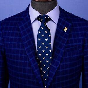 Blue Wall Street Golden Bull Head Designer Tie 8cm Necktie Florentine Accessory