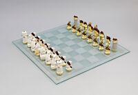9941730# Estatuilla de porcelana juego ajedrez Ratones Blanco vs. ranas Marrón