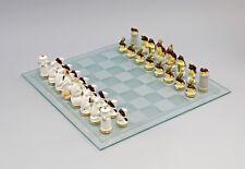 9941730# PORCELLANA personaggio gioco degli scacchi Bianco Topi vs. rane Marrone ENS hca.6cm