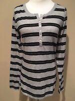 Womens Black Gray Stripe Long Sleeve Mossimo Top Small