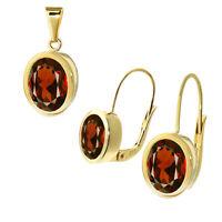 Paar Granat Ohrringen 333 8 Karat Gelbgold oder Anhänger Tropfen Träne Damen