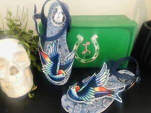 Bnib Miss L Fire Bluebird Flip flop Sandals Size 5 38 Rockabilly Rare Quirky