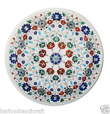 Round Marble Coffee Side Table Top Multi Inlaid Mosaic Unique Decor Gift H1475