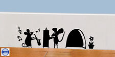 Mouse  Hole Wall Art Sticker Music Vinyl Decal Mice Home Skirting Board Funny