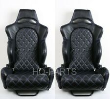 2 TANAKA BLACK PVC LEATHER RACING SEAT RECLINABLE + BLUE DIAMOND STITCH FITS BMW
