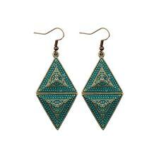 Women's Rhombus Sun Goddess Bohemian Style Ethnic Dangle Carve Bronze Earrings