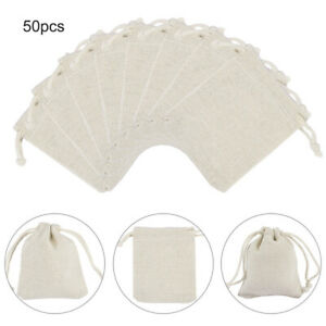50pcs Drawstring Bag Cotton Linen Jewelry Candy Gift Storage Pouch Bags Creative