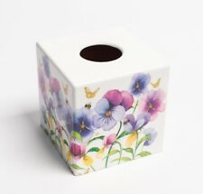 Pansy Tissue Box Cover wooden decoupaged by hand in UK