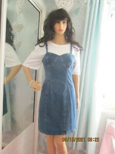 WOMENS DENIM & CO DENIM STRAP DRESS BLUE SIZE 16