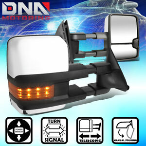 FOR 1988-2000 CHEVY/GMC C/K PAIR BLACK POWERED TOW MIRROR+AMBER LED TURN SIGNAL