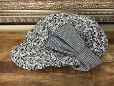 Grace Hats - Black & White Tweed Wool Blend Mod Style Brimmed Hat NWT