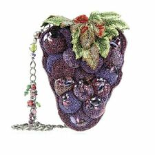 Mary Frances Handbag Merlot Purple Bunch Grapes WIne Beaded Jeweled Shoulder Bag