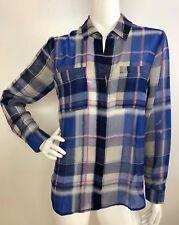 Lucky Brand Women's M Blue Plaid Boyfriend Weekend Button Shirt Top Blouse NWT