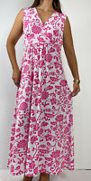 LIZ JORDAN Pink White Floral Print Stretch Maxi Dress XL Plus Size AU 16 Boho