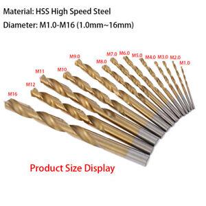 M1.0~M16 Metric High Speed Steel HSS Titanium-plated Twist Drill Bits Drill Tool