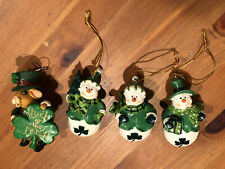4 Holiday Ornament Figurine Irish Leprechaun Snowman Mouse Luck Shamrock Hat
