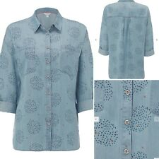 White Stuff RUPEE Blue Chambray Denim Shirt Roll Tab Sleeves Size 10