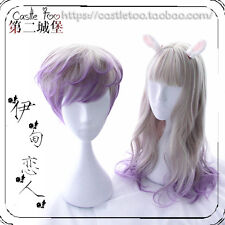 Lolita Blue Pink Gradient Japanese Harajuku Sweet Daily Fairy Curly Wig Cosplay