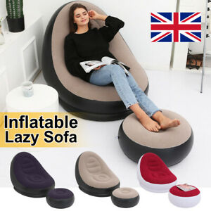 Deluxe Inflatable Lounger Chair Sofa Blow Up Foot stool Air Seat Relax Couch UK